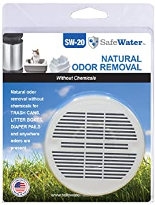 SafeWater Garbage Trash Can Odor Remover and Preventer, Made in The USA, NSF Tested Food Grade Carbon, Diaper Waste Can Smell Remover (1-Pack)