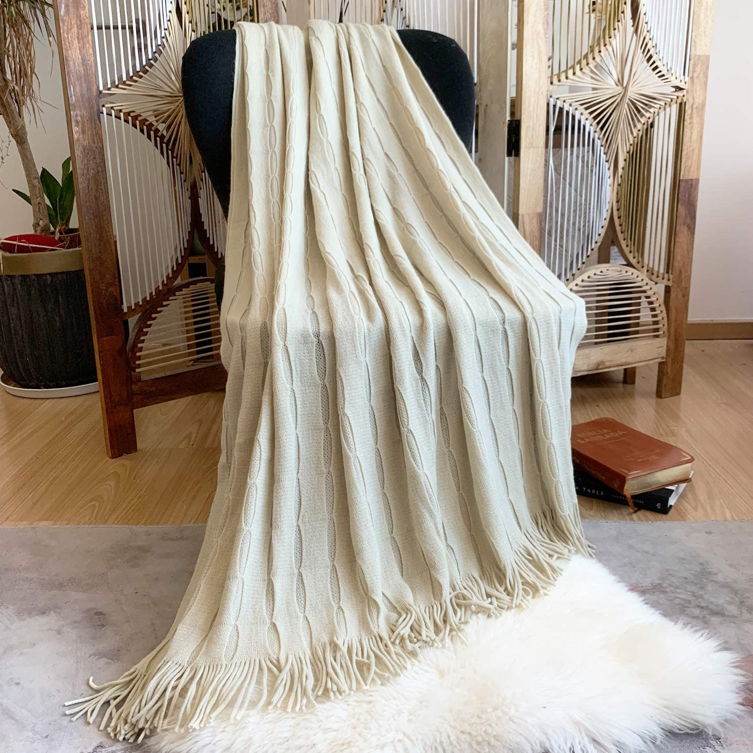 """DISSA Knitted Blanket Textured Solid Super Soft Decorative Throw Blanket with Tassels Cozy Plush Lightweight Fluffy Woven Blanket for Bed Sofa Couch Living Bed Room (Mustard Yellow, 60""""x80""""): Home & Kitchen"""