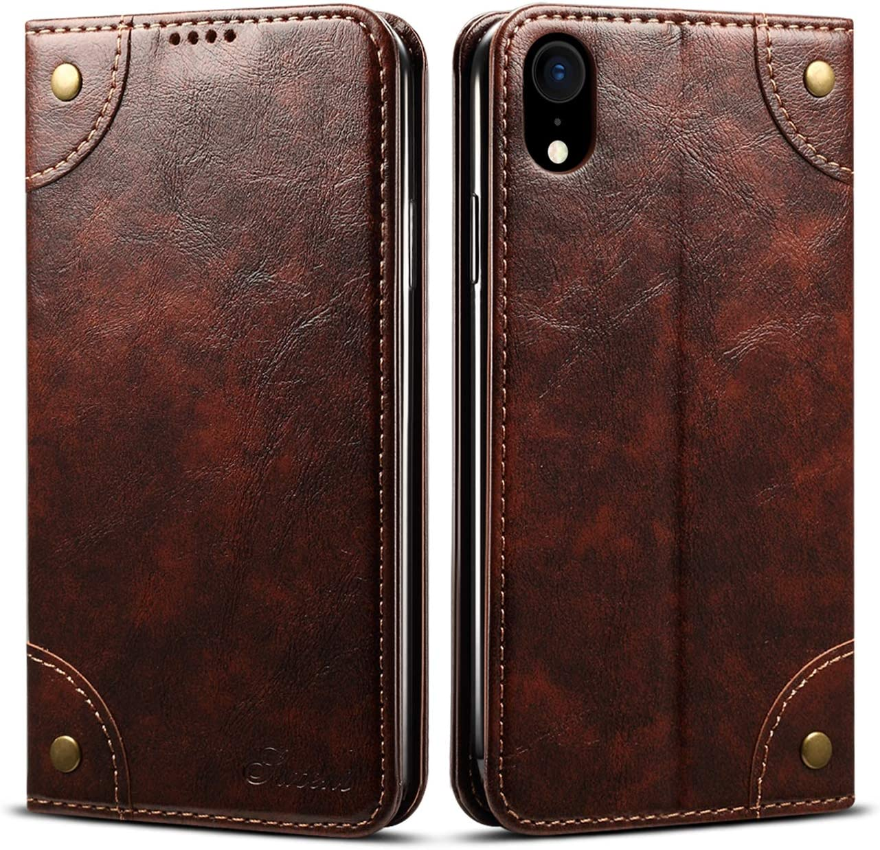 Retro Leather Wallet Case for iPhone Xs Max 6.5 inch Apple,Brown Folio Card Money Holder Cover Kickstand Protective Durable Men Women Unisex Fashion Shell