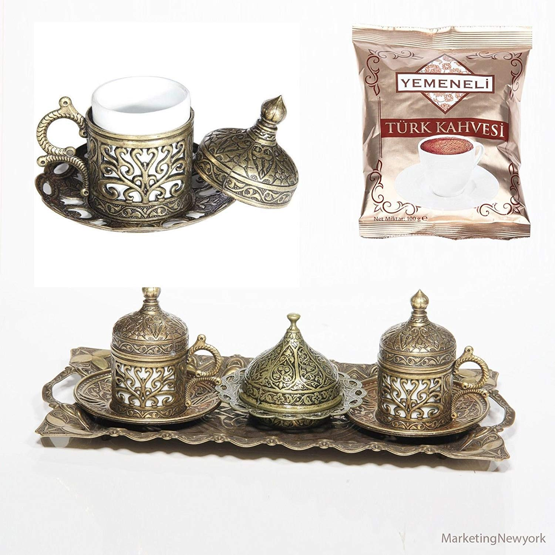 12 Pc Ottoman Turkish Greek Arabic Coffee Espresso Serving Cup Saucer Antique