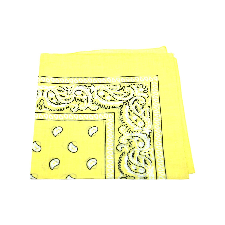 [UK SELLER] BANDANA HEAD SCARF SCARVES PAISLEY MANY COLOURS 100% COTTON (Light Yellow)
