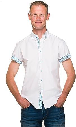 Ugholin - Camisa Casual Lisa de Manga Corta Floreada para Hombre: Amazon.es: Ropa y accesorios