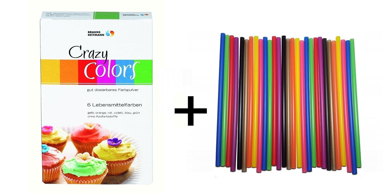 Crazy Colors Lebensmittelfarben + Farbige Cake Pop Lollistiele ...