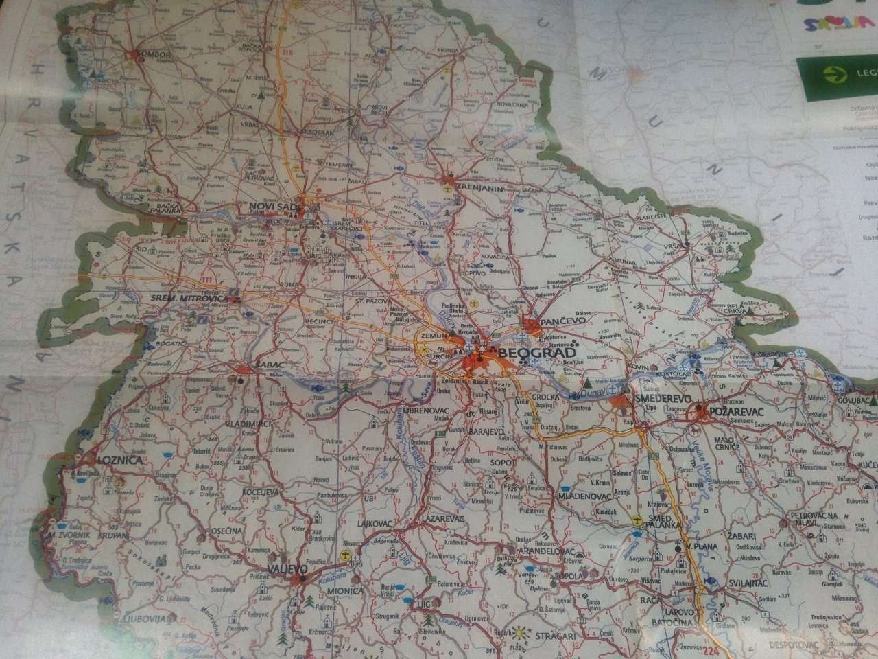 Srbija Turisticka Karta Serbia Tourist Map 1 800 000