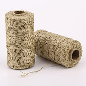 ZRM&E 2pcs Natural Jute Twine String Multipurpose Hemp Rope for Wedding,Garden Decoration,Artworks,DIY Crafts