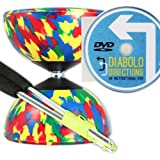 Mr B Harlequin Diabolo, Metal Diablo Sticks & Diabolo Directions Instructional DVD! (4 Colour)