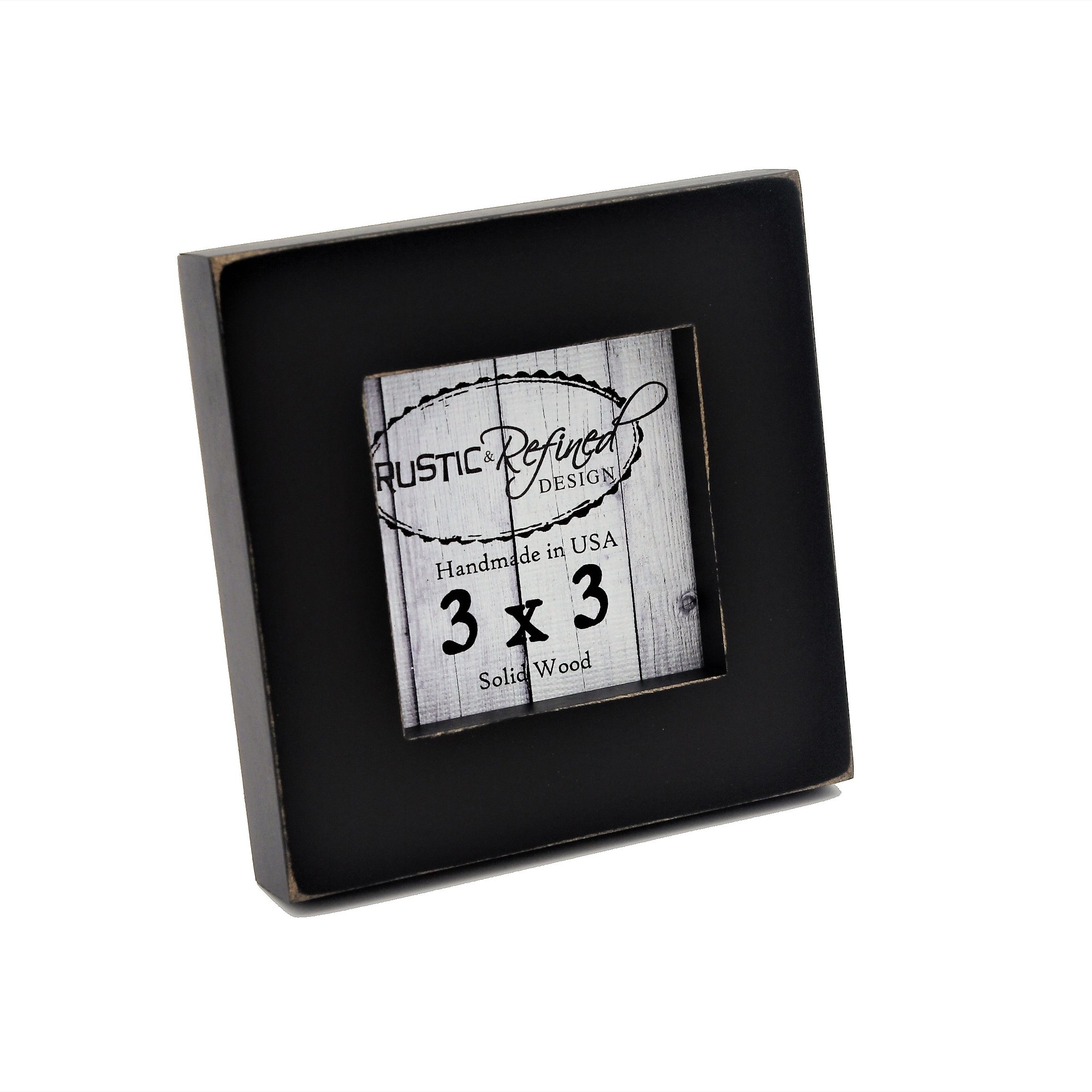 Rustic and Refined Design 3x3 Solid Wood Made in USA Picture Frame with 1 Inch Border (Gallery Collection) - Black