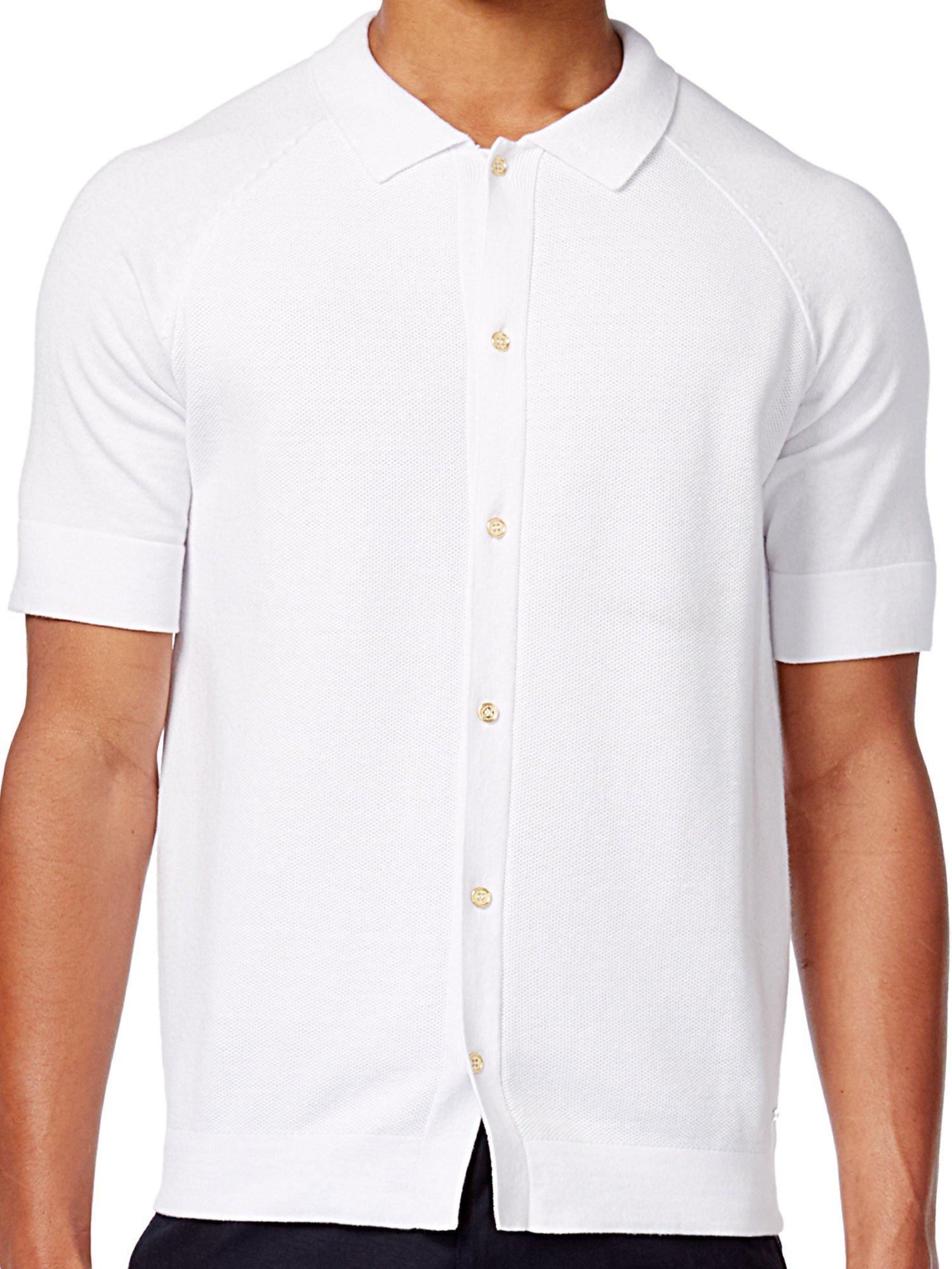 Sean John Mens Short-Sleeve Button-Front Cotton Sweater Bright White 2XL