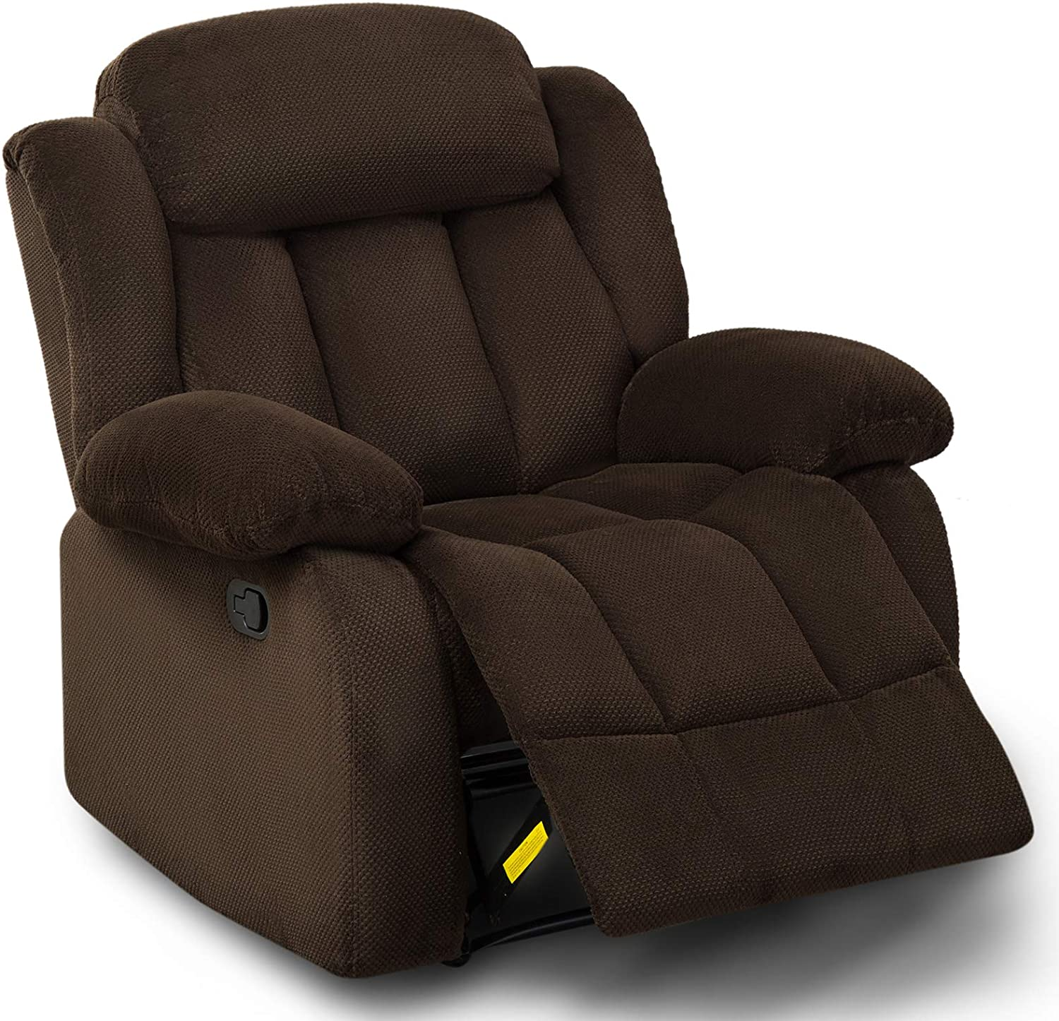 ANJ HOME Fabric Recliner Chair for Living Room,Overstuffed Single Sofa Home Theater Seating Lounge Chair (Brown)