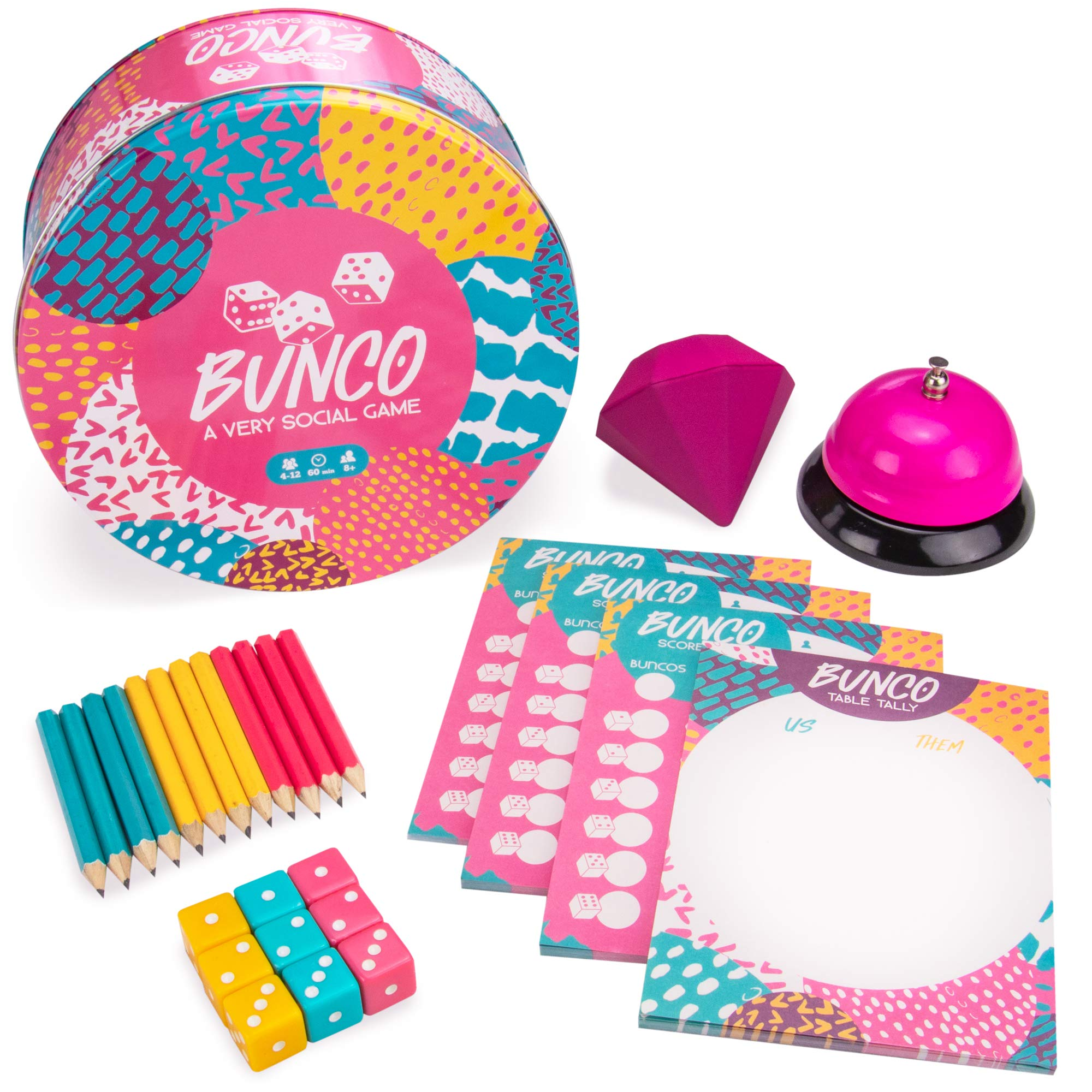 Bunco: A Very Social Game | 12-Player Party Dice Game | Includes Dice, Scorecards, Pencils, Bell, & Squishy Traveling Jewel