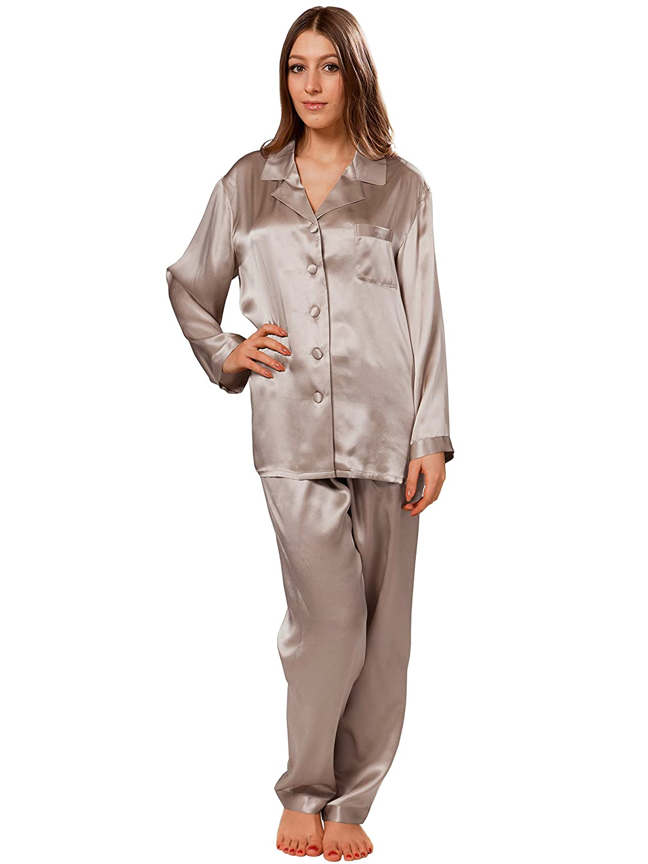 ElleSilk 100% Seda Pijama Largo de Mujer, Cómodo Pijama Completo, 22 Momme, Hipoalergénico