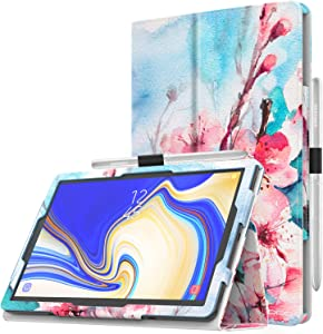 MoKo Case for Samsung Galaxy Tab S4 10.5 - Premium Slim Folding Stand Cover Case with Auto Wake & Sleep for Samsung Galaxy Tab S4 10.5 Inch (SM-T830 and SM-T835) 2018 Release Tablet, Peach Blossom