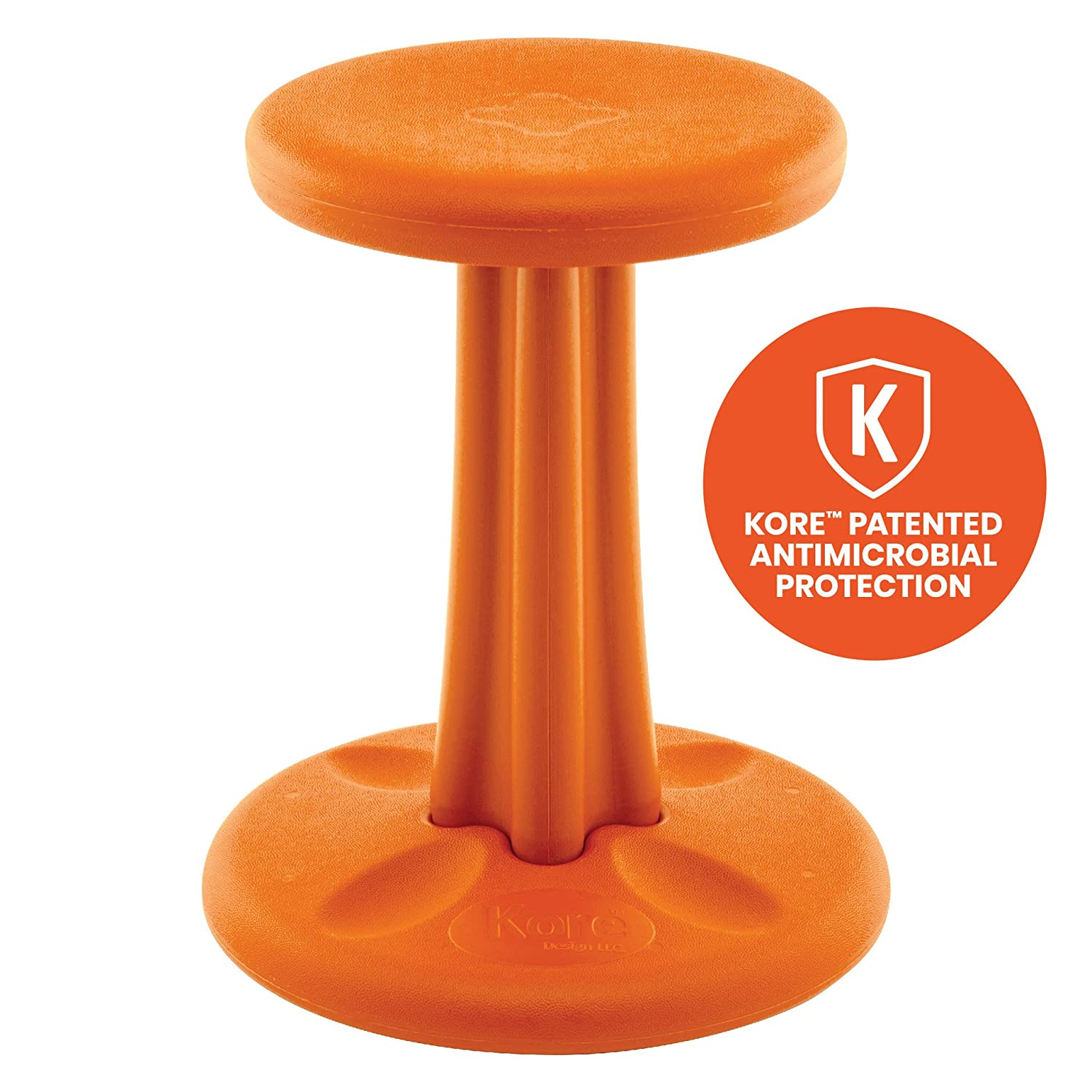 Kore patented wobble chair now with antimicrobial protection stem flexible seating made in the usa active sitting for kids junior orange 16in