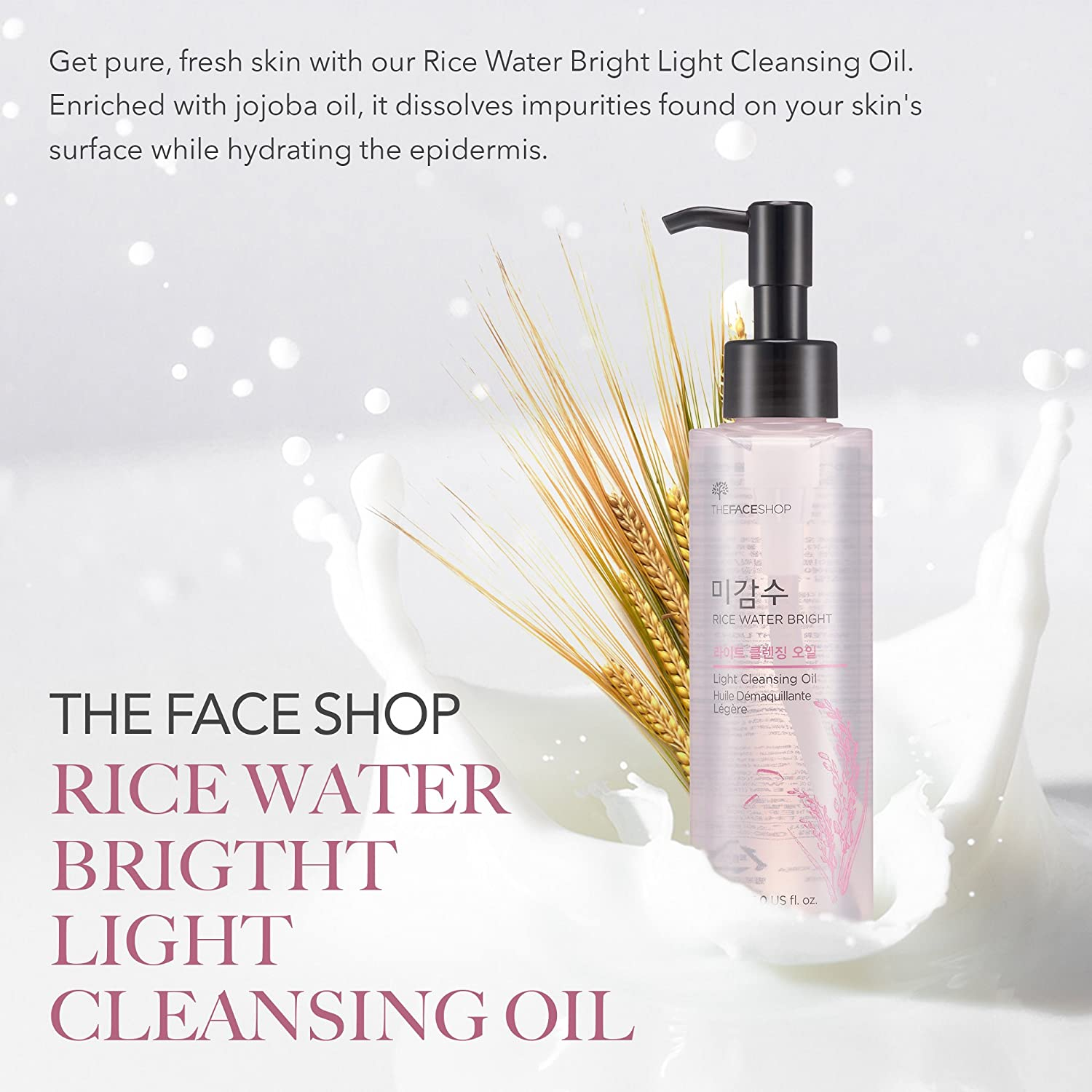 b83d52938663 [THEFACESHOP] Facial Cleanser, Natural Rice Water Light Cleansing Oil  Moisturizer for Dry or Oily...