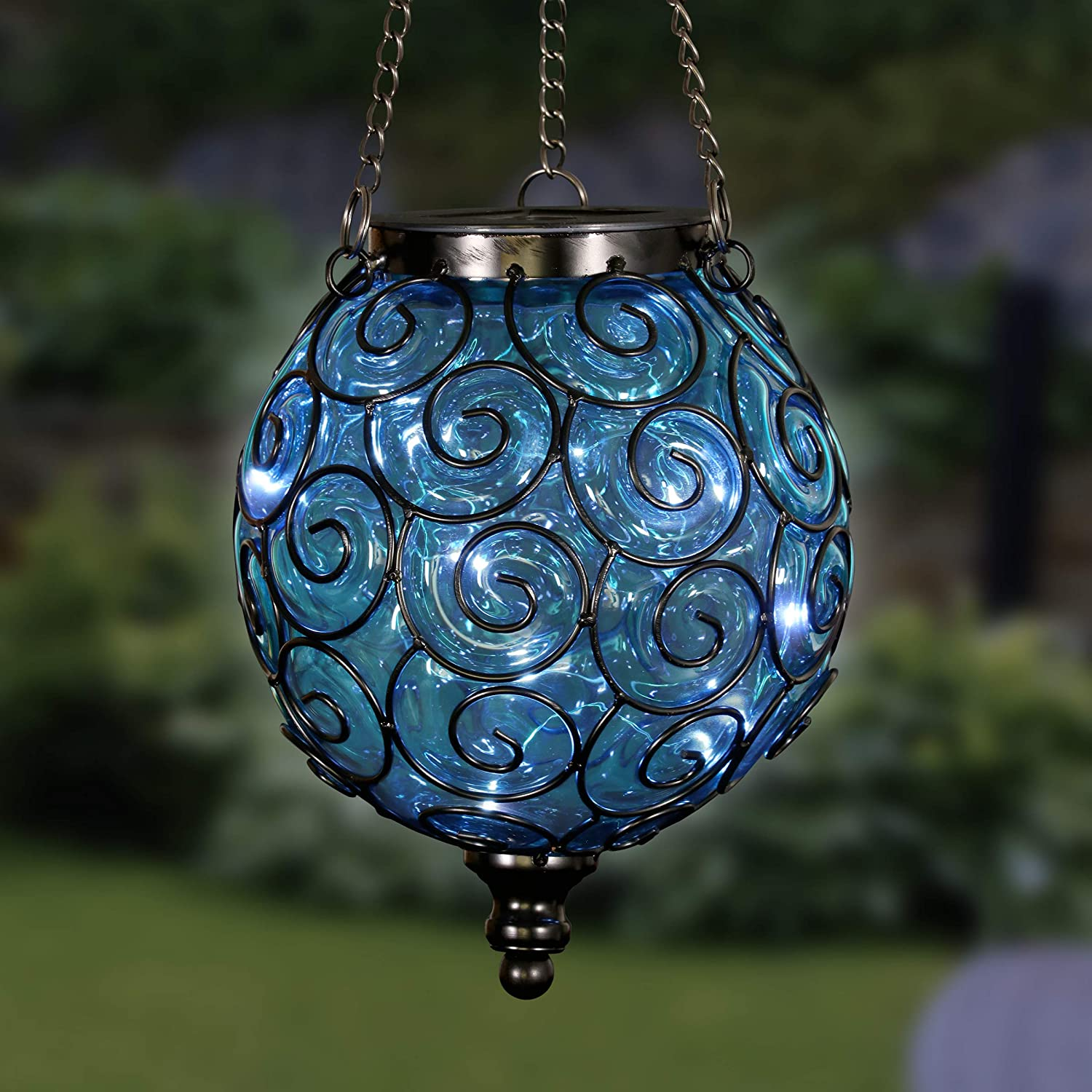 Exhart Solar Hanging Lantern, Handblown Blue Glass – Round Hanging Lantern Light w/ 12 LED Firefly String Lights, Metal & Glass Lantern Decorative Orb for Outdoor Décor (7in l x 7in w x 20in h)