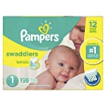 Pampers Diapers Size 1, Swaddlers Disposable Baby Diapers, 198 Count, Economy Pack Plus