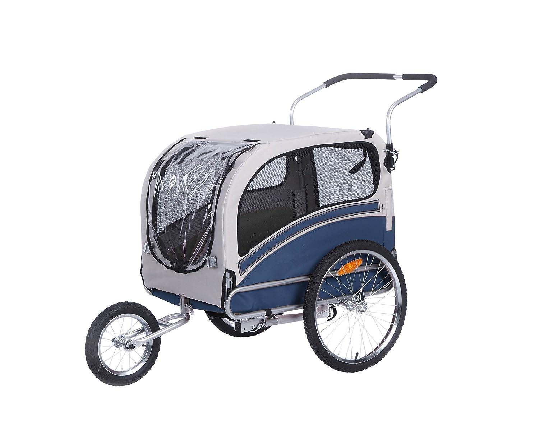 LEONPETS Multi-Function Haustier transportwagen für Jogger und Fahrrad 20303L(Blau-Grau) OSKAR-BEBEHUT