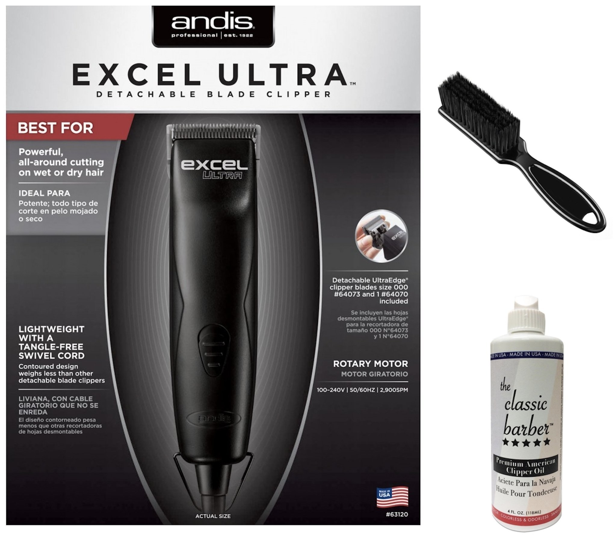 Andis Excel Ultra Detachable Blade Clipper Bundle Includes Classic Oil & Blade Brush
