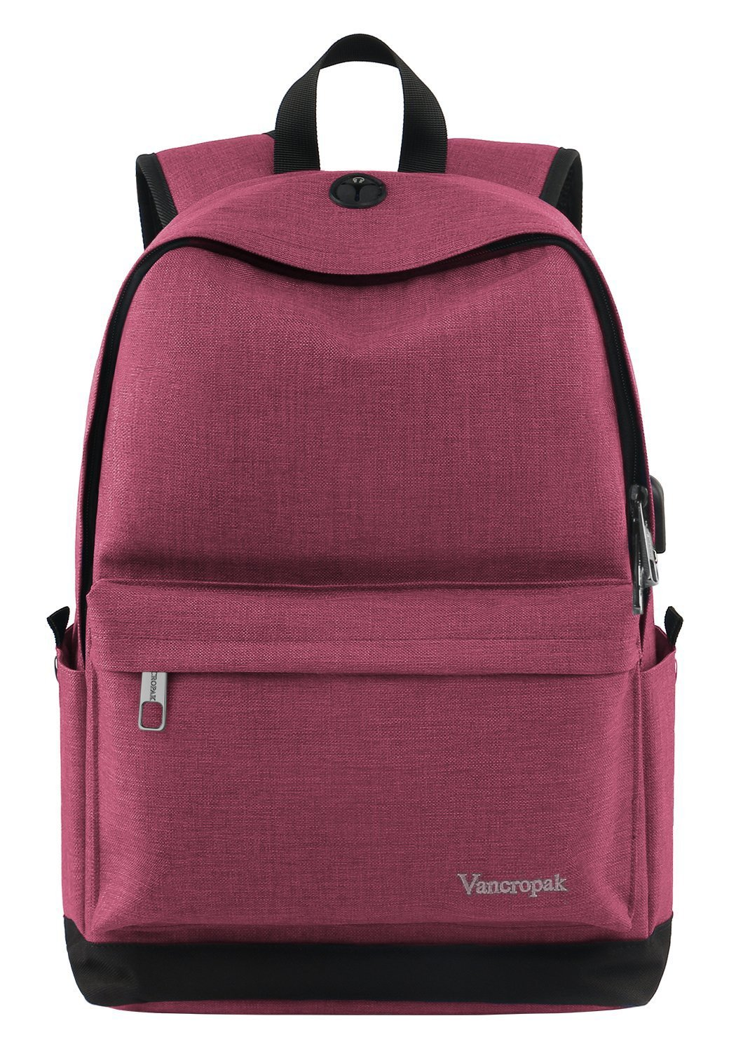 Student Backpack for Women, College High School Laptop Backpack with Charger for Men Girls Boys, Water Resistant Canvas Bookbag Weekend Bag Fits 15.6 Inch MacBook Tablet and Books -Pink