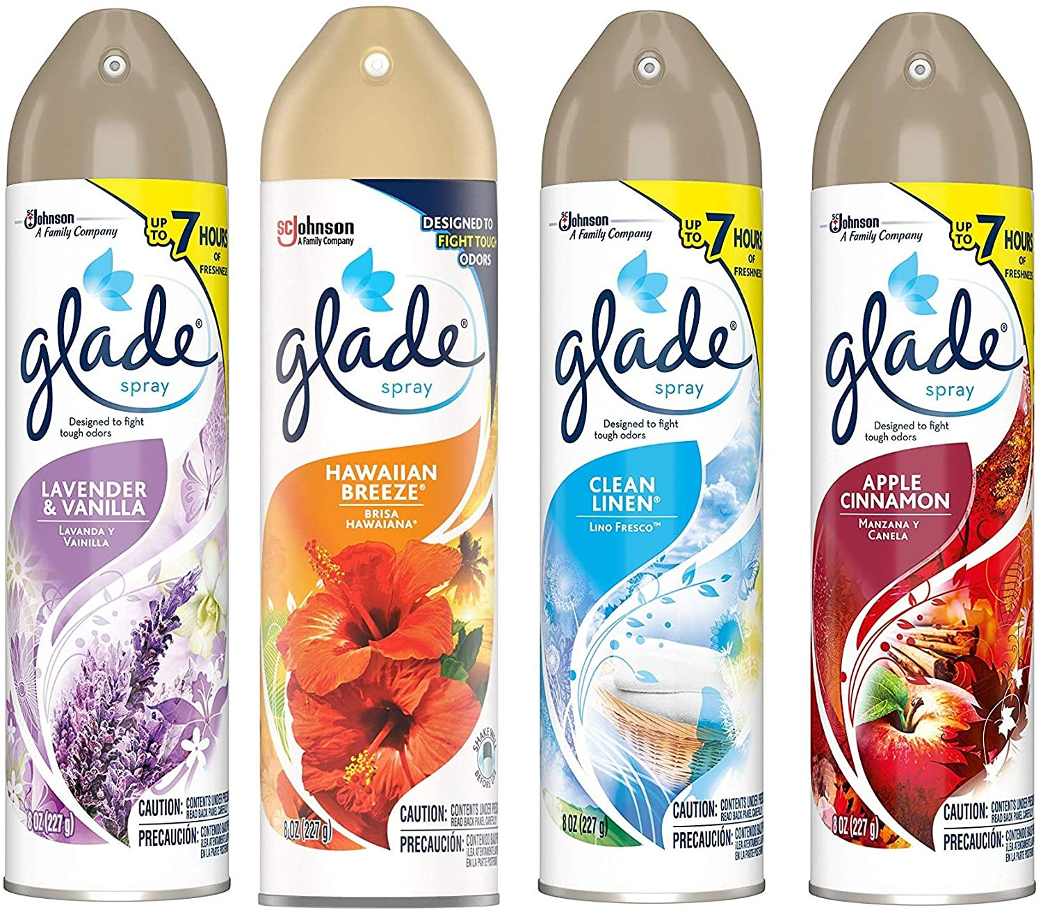 Glade Spray Collection 4 Flavors: Lavender & Peach Blossom, Hawaiian Breeze, Clean Linen & Apple Cinnamon. Pack of 4.