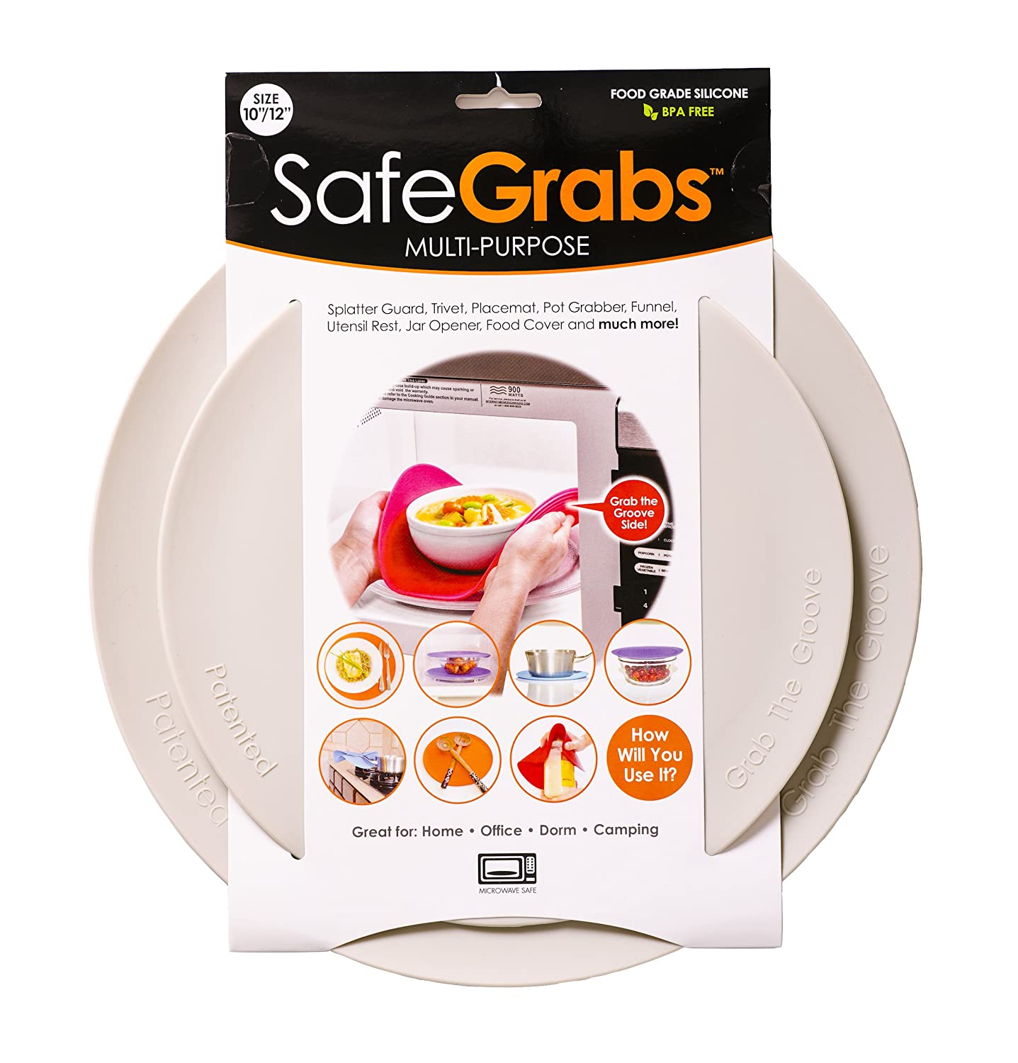 Safe Grabs Seen on Shark Tank: Multi-Purpose Silicone Microwave Mat, BPA Free Kitchen Tool, Set of 2, Gray