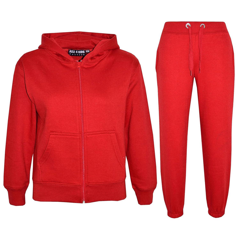 A2Z 4 Kids® Kids Girls Boys Plain Tracksuit Hooded Hoodie Bottom Jog Suit Joggers New Age 7 8 9 10 11 12 13 Years