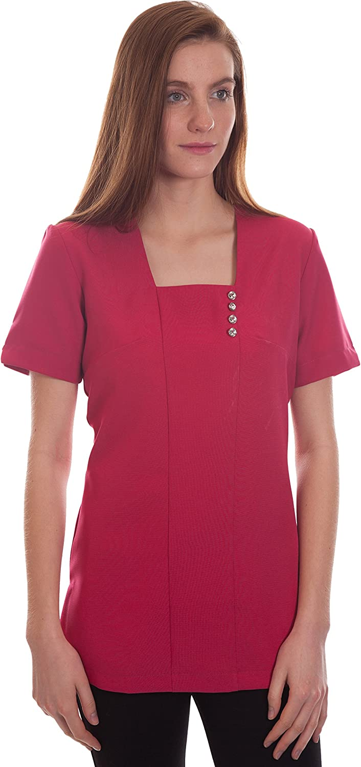 The Salonwear Factory Katie Salon Tunic in Black White and Hot Pink Size 8,10,12,14,16,18,20,22