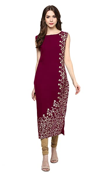 ZIYAA Women's Pink Color Floral Print Straight Crepe Kurta Kurtas & Kurtis at amazon