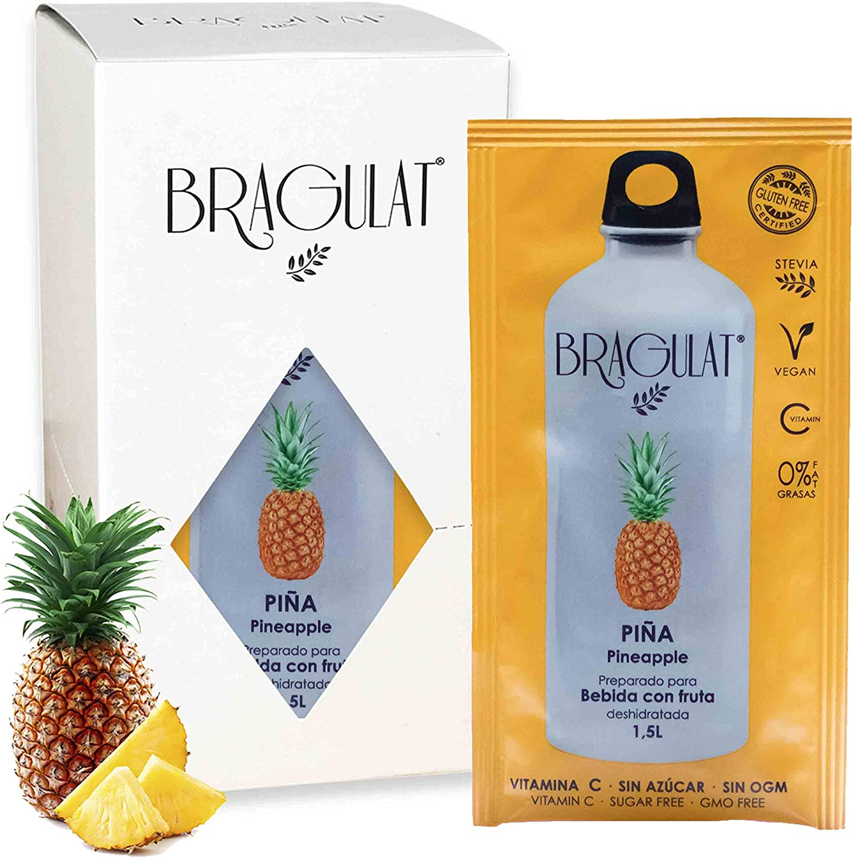Bragulat Zumo Bebidas y Refrescos Instantáneas en Polvo Concentrado de Frutas, Piña - 15 Sobres