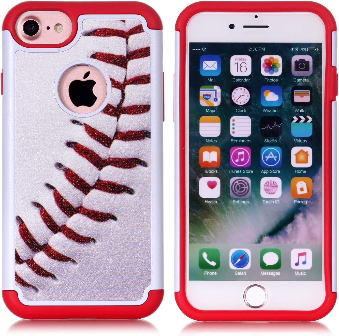 Iphone 8 Case,Iphone 7 Cover - Baseball Sports Pattern Shock-Absorption Hard PC and Inner Silicone Hybrid Dual Layer Armor Defender Protective Case Cover for Apple iphone 7 and Apple iphone 8