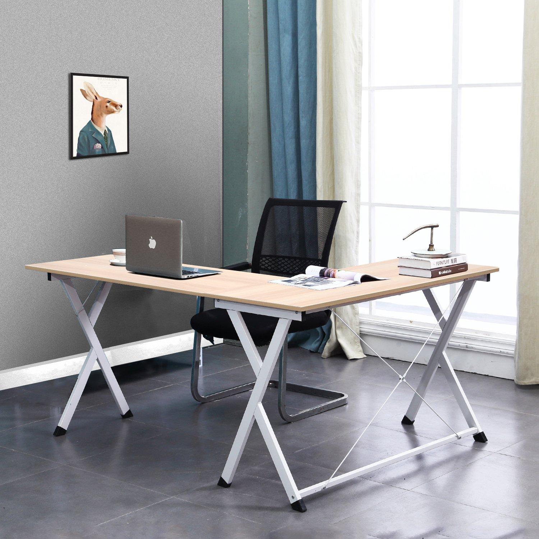DlandHome L Scrivania del Computer 120 CM 110 CM/ Ufficio a casa PC Portatile Workstation di Studio Tavolo angolare con Supporto CPU Black