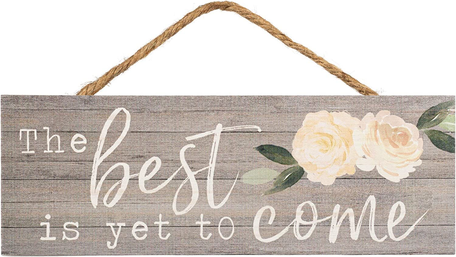 P. Graham Dunn Best Yet to Come Peonies Grey 10 x 3.5 Inch Pine Wood Slat Hanging Wall Sign