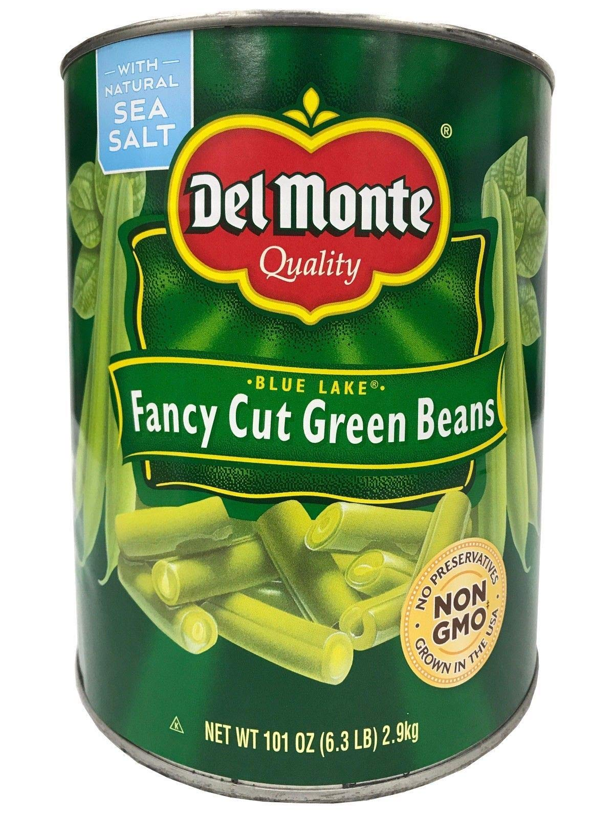 Del Monte Blue Lake Fancy Cut Green Beans Non-GMO/No Preservatives - 6.3 lbs Can (101 oz.)