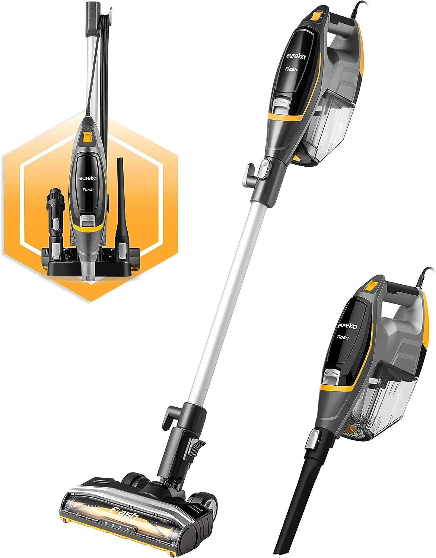 Eureka Flash Lightweight Stick Vacuum Cleaner,15KPa Powerful Suction, 2 in 1 Corded Handheld Vac for Hard Floor and Carpet, Black, NES510 (Renewed)