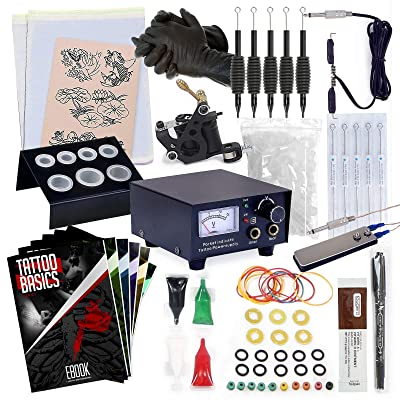 Rehab Ink Tattoo Kit with Gun, Power Supply, Needles, 4 Inks