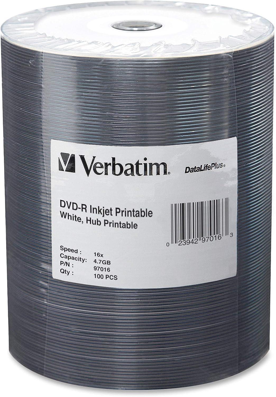 Verbatim 97016 DVD-R, Inkjet Printable, 4.7GB, 16x,100/PK, White