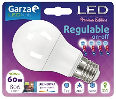 Garza Lighting - Bombilla LED Regulable On/Off Esférica en 4 pasos, potencia 10W