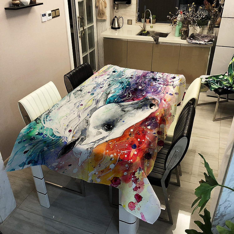 Oukeep 3D Animal Caballo Serie Mantel Sueño Romántico Anti-Mantel Impermeable Antiincrustante Mantel Banquete Restaurante Occidental Cafetería Decoración Tela Foto Fondo Tela
