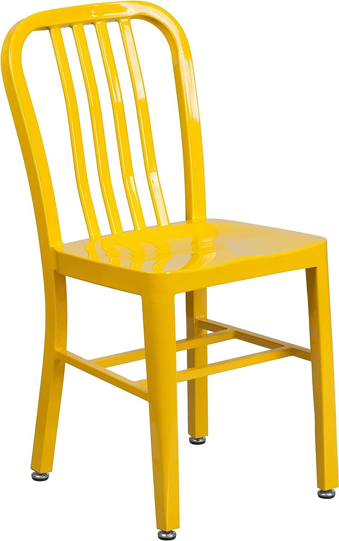 Flash Furniture Commercial Grade Yellow Metal Indoor-Outdoor Chair