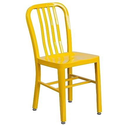 Attrayant Flash Furniture Yellow Metal Indoor Outdoor Chair