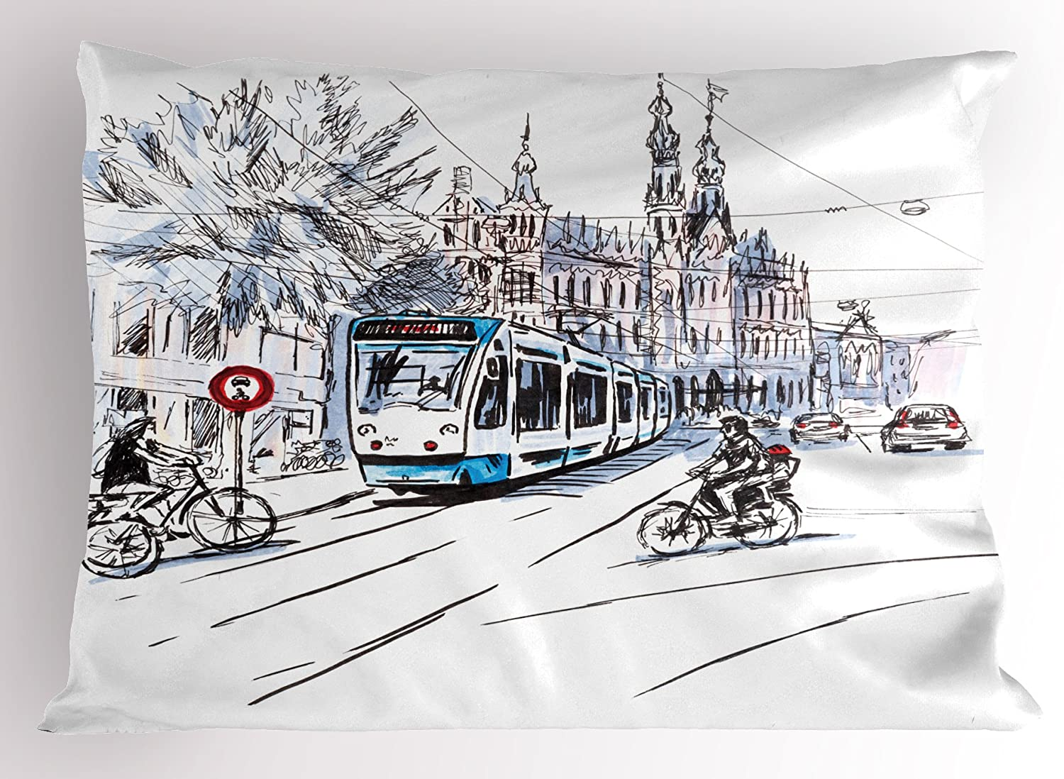 Amazon Com Ambesonne Sketchy Pillow Sham Hand Drawn Tram And Bicyclists Cityscape Of Amsterdam Netherlands Urban Life Decorative Standard Size Printed Pillowcase 26 X 20 Blue Lilac White Home Kitchen