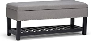 Simpli Home AXCOT-260-LGL Lomond 43 inch Wide Traditional Rectangle Storage Ottoman Bench in Dove Grey Linen Look Fabric