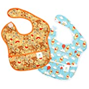 Bumkins Baby Bib, Disney Waterproof SuperBib 2 Pack, Winnie the Pooh (Woods/Balloon) (6-24 Months)