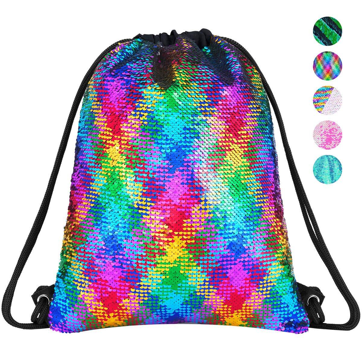 Girl Child Reversible Sequin Bag Mermaid Drawstring Backpack Glittering Bag Gift