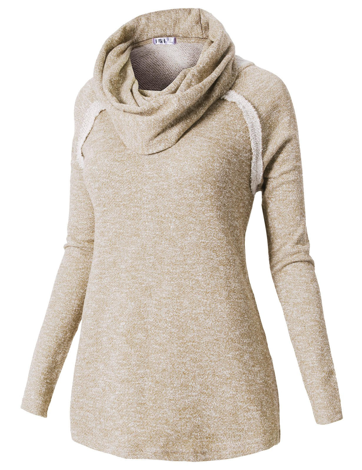 H2H Womens Loose Fit Long Turtle Neck Knitted Sweater Top Beige US XL/Asia XL (CWTTL0187)