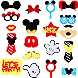 MALLMALL6 Mickey Photo Booth Props,Party Table Centerpieces Decorations Kids Birthday Party Favor Dress-up Accessories and Th
