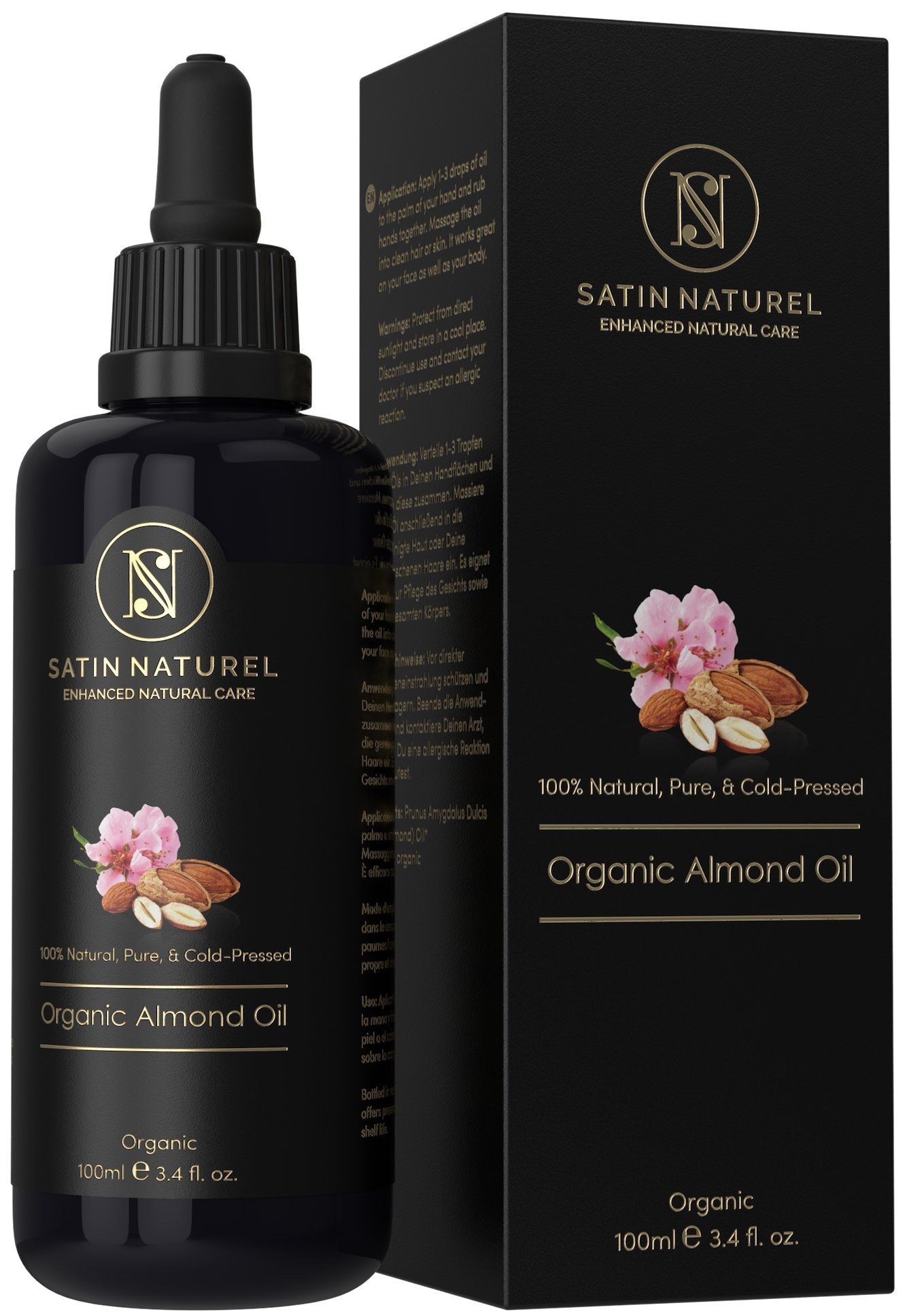 Aceite de Almendras 100% Puro, Natural, Orgánico 100ml / Con Certificación Ecológica y