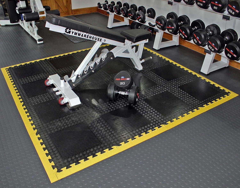 Easimat rubber interlocking gym garage mats heavy duty four mats
