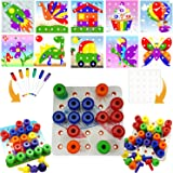 Skoolzy Peg Board Pattern Card Creative Art Set – Occupational Therapy Toys for Toddlers and Preschoolers Montessori Fine Motor Skills Color Recognition Matching Pegs Educational Game Extension Kit