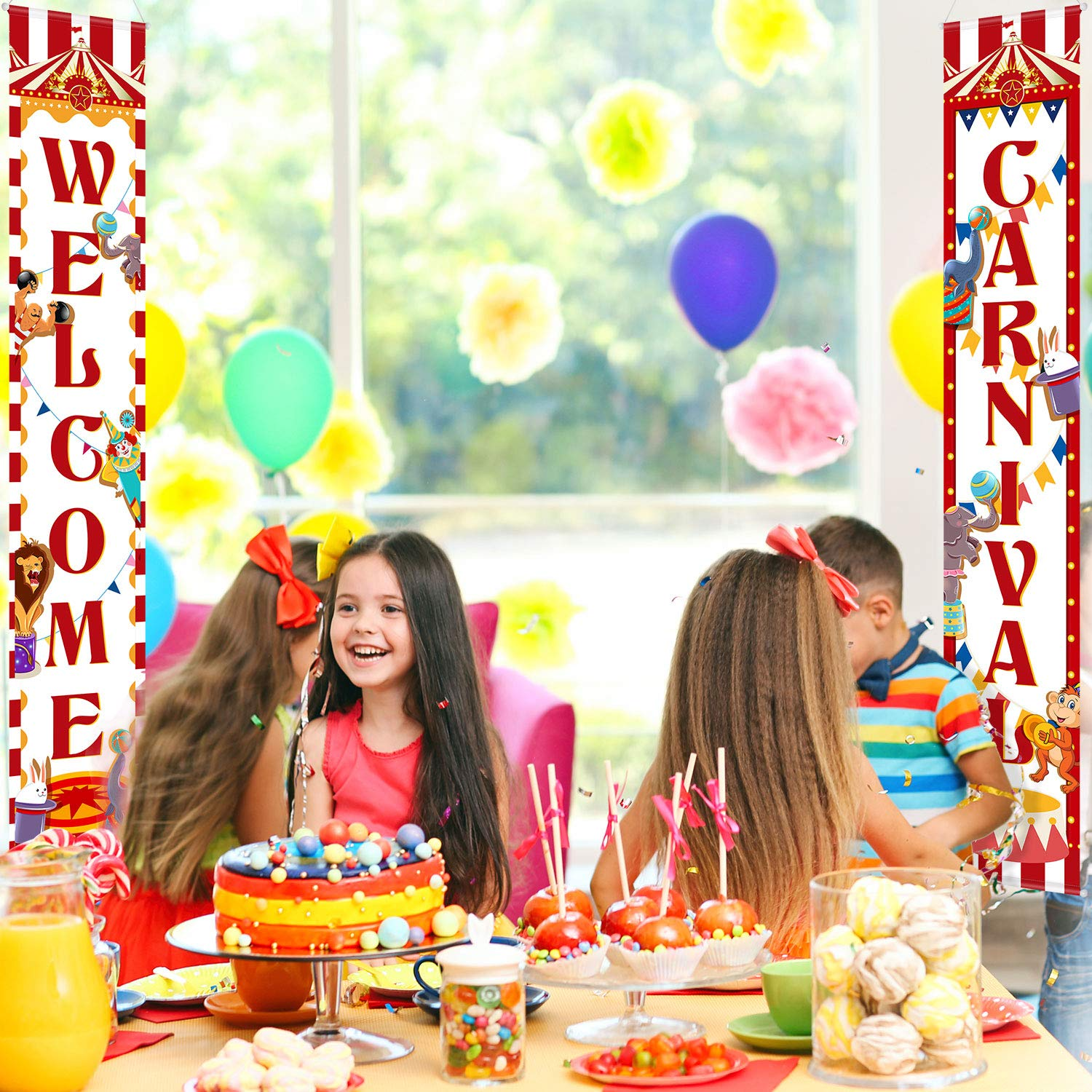 Carnival Decoration Porch Sign Carnival Circus Birthday Party Welcome Banner Decoration Set Circus Carnival Banner Carnival Party Supply Decor Home Decorations